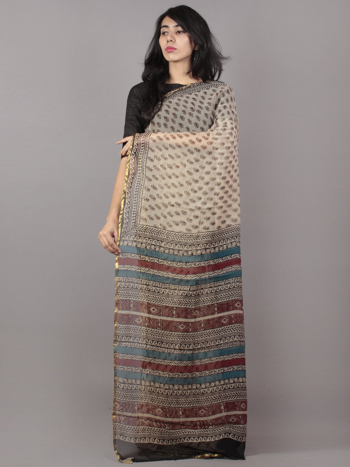 Ivory Black Light Red Hand Block Printed Chiffon Saree - S031701699