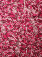 Deep Pink Beige Brown Hand Block Printed Cotton Cambric Fabric Per Meter  - F0916418