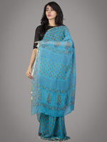 Sky Blue Yellow Hand Block Printed Chiffon Saree - S031701704