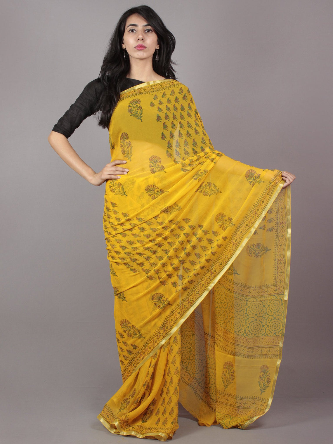 Yellow Hand Block Printed Chiffon Saree - S031701705