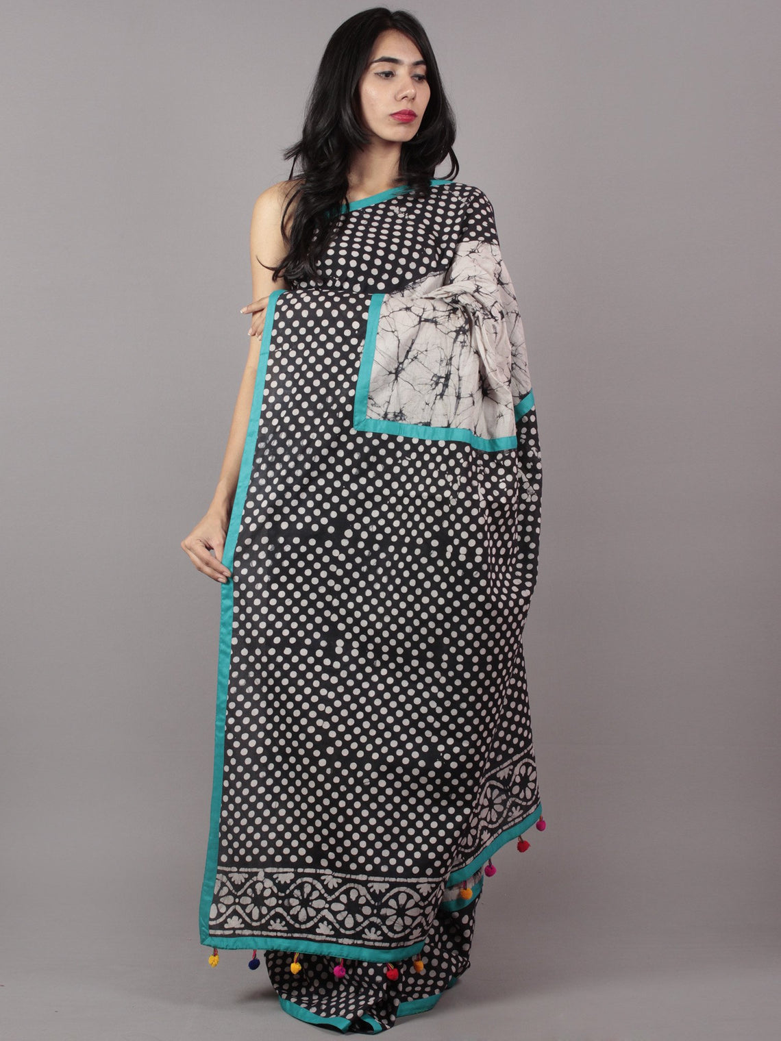 Black White Hand Batik & Block Printed Cotton Saree With Sea Green Border & Tassels - S031701713