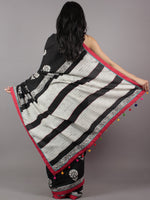 Black White Red Hand Block Printed & Thread Embroidered Cotton Saree With Tassels - S031701714
