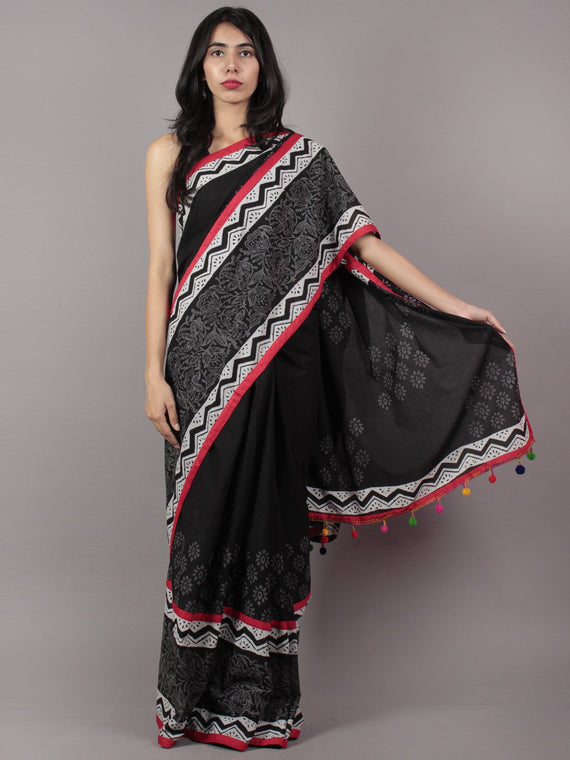 Black White Grey Red Hand Block Printed Cotton Saree With Tassels - S031701717