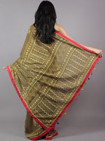 Olive Green Ivory Red Hand Block Printed & Thread Embroidered Cotton Saree With Tassels - S031701718
