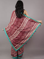 Rosewood Red Ivory Hand Block Printed Cotton Saree With Sea Green Color & Tassels - S031701719