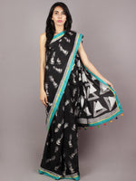 Black White Seagreen Yellow Hand Block Printed Cotton Saree With Tassels - S031701721