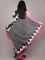 Black White Pink Yellow Hand Block Printed Cotton Saree With Tassels - S031701722