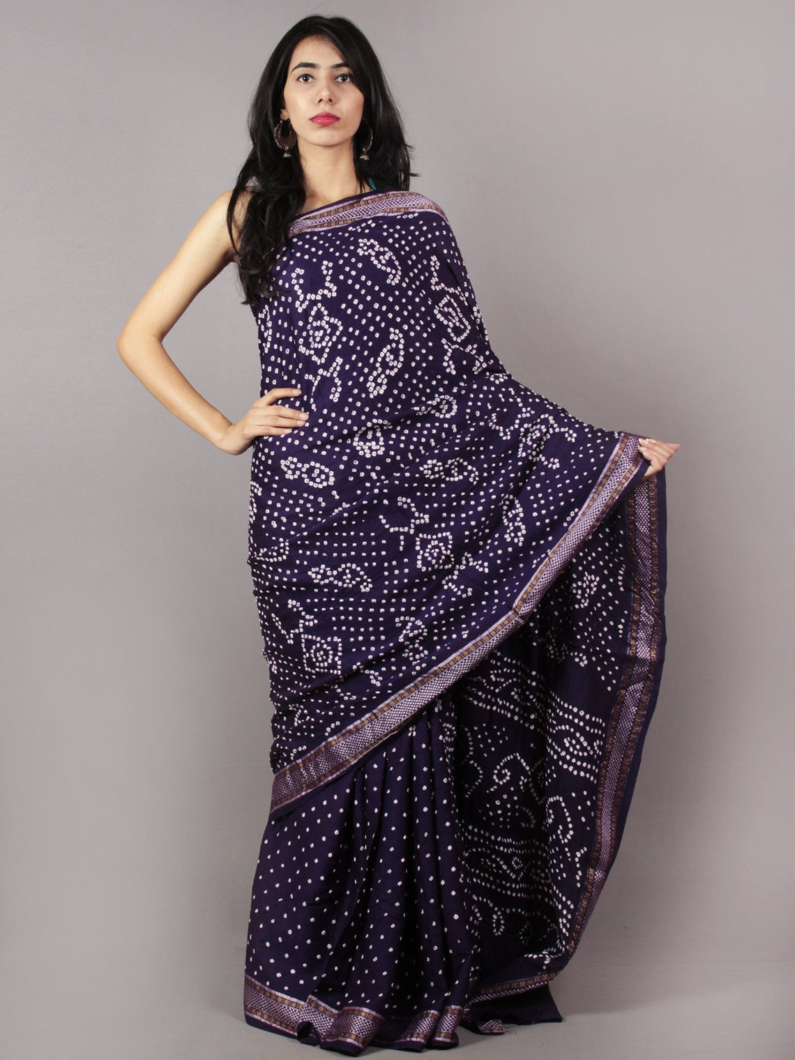 Dark Purple Ivory Hand Tie & Dye Bandhej Glace Cotton Saree With Resham Border - S031701727