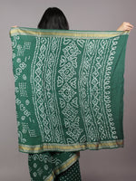Hunter Green Ivory Hand Tie & Dye Bandhej Glace Cotton Saree With Resham Border - S031701729