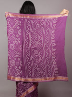 Purple Ivory Hand Tie & Dye Bandhej Glace Cotton Saree With Resham Border - S031701730