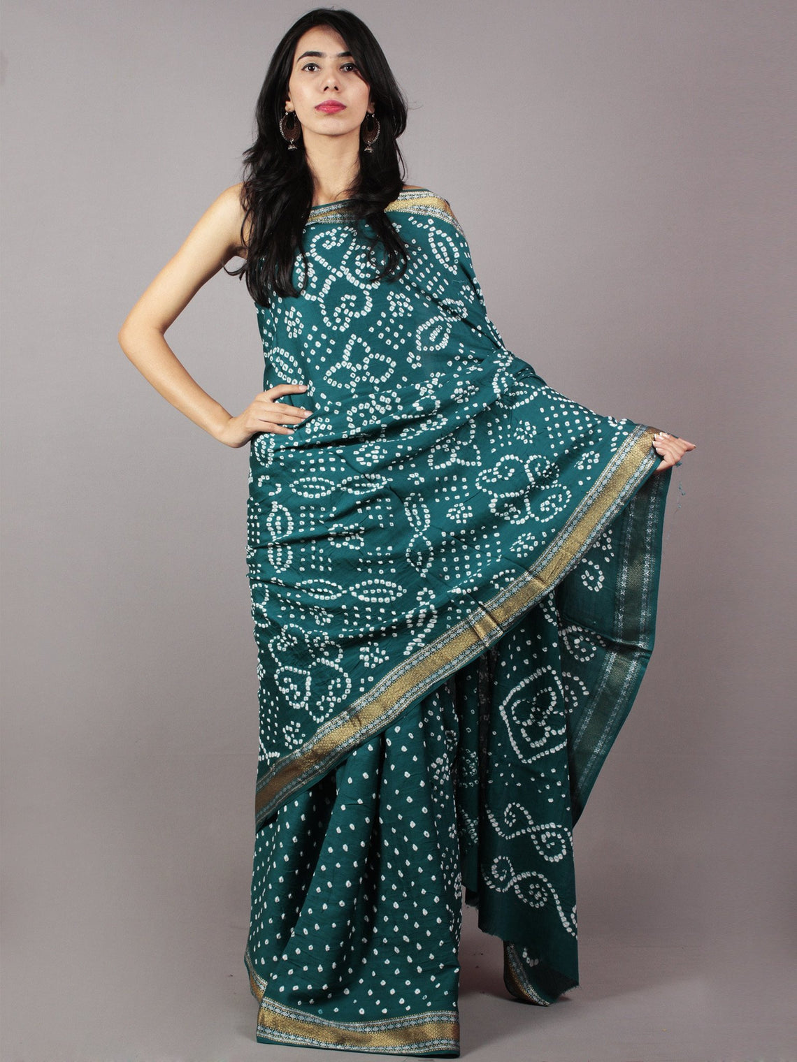 Dark Basil Green Ivory Hand Tie & Dye Bandhej Glace Cotton Saree With Resham Border - S031701731