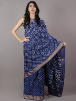 Admiral Blue Ivory Hand Tie & Dye Bandhej Glace Cotton Saree With Resham Border - S031701735