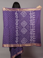 Purple Ivory Hand Tie & Dye Bandhej Glace Cotton Saree With Resham Border - S031701736