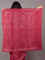 Red Ivory Hand Tie & Dye Bandhej Glace Cotton Saree With Resham Border - S031701739