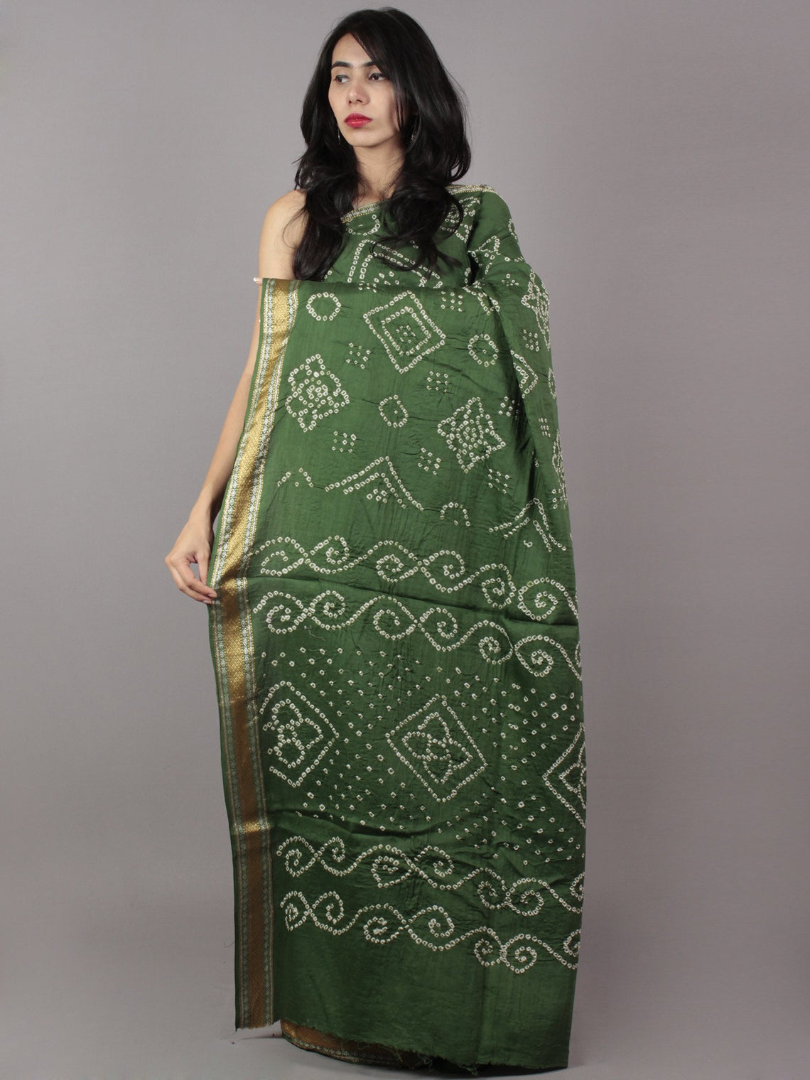 Pine Green Ivory Hand Tie & Dye Bandhej Glace Cotton Saree With Resham Border - S031701740