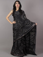 Black Ivory Hand Tie & Dye Bandhej Glace Cotton Saree With Resham Border - S031701741
