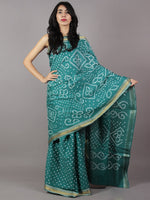 Teal Green Ivory Hand Tie & Dye Bandhej Glace Cotton Saree With Resham Border - S031701743