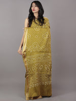 Olive Green Ivory Hand Tie & Dye Bandhej Glace Cotton Saree With Resham Border - S031701745