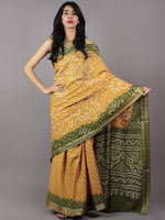 Mustard Green Ivory Hand Tie & Dye Bandhej Glace Cotton Saree With Resham Border - S031701748