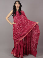 Maroon Ivory Hand Tie & Dye Bandhej Glace Cotton Saree With Resham Border - S031701754
