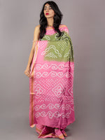 Fern Green Pastel Pink Ivory Hand Tie & Dye Bandhej Glace Cotton Saree With Resham Border - S031701755