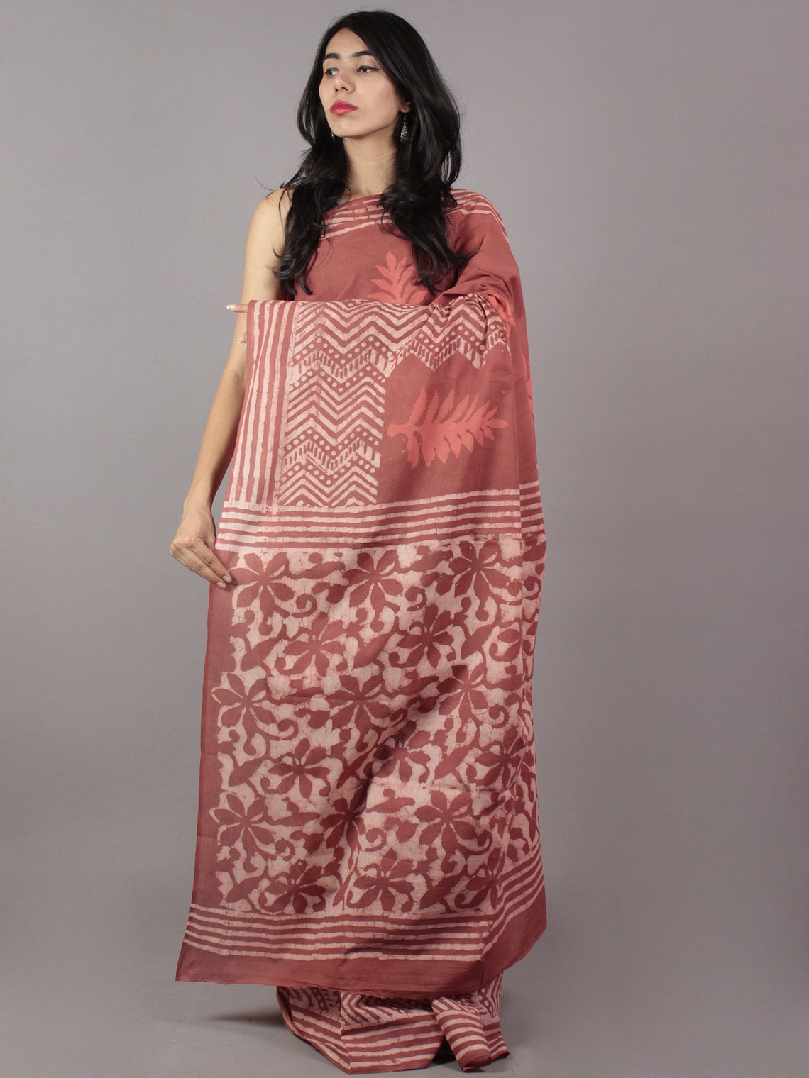 Rust Ivory Hand Block Printed Cotton Saree - S031701757