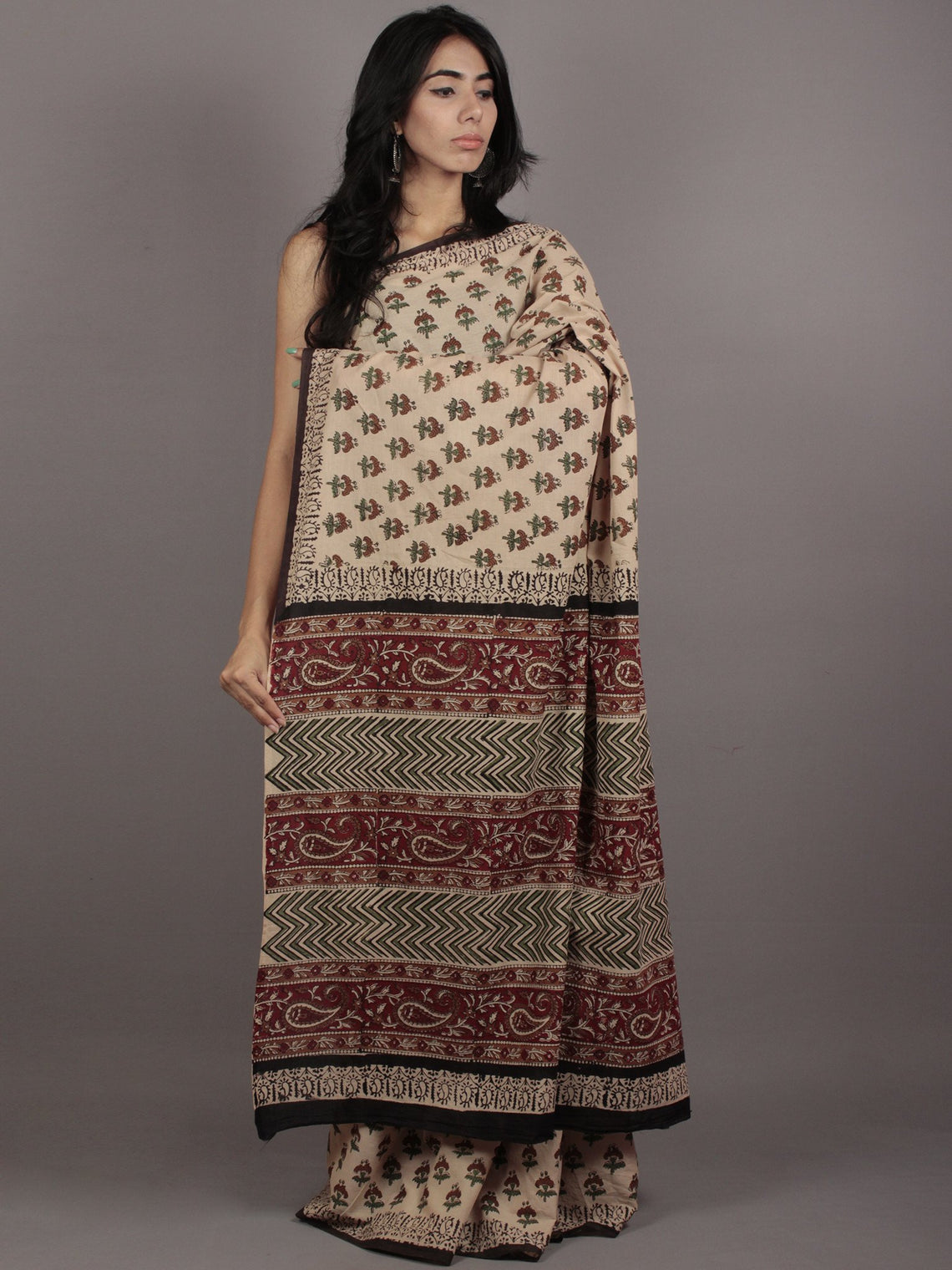 Beige Green Maroon Hand Block Printed Cotton Mul Saree - S031701761