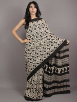Ivory Black Hand Block Printed Cotton Mul Saree - S031701762