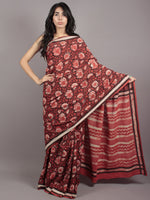 Syrup Red Black Ivory Black Hand Block Printed in Cotton Mul Saree - S031701767