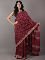 Gingerbread Maroon Ivory Green Hand Block Printed in Cotton Mul Saree - S031701775