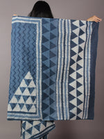 Indigo Ivory Hand Block Printed in Cotton Mul Saree - S031701777