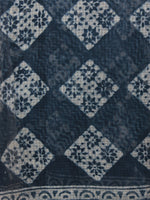 Indigo Ivory Hand Block Printed Kota Doria Saree in Natural Colors - S031701786
