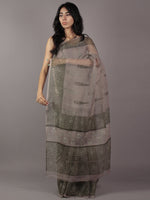 Kashish Grey Ivory Hand Block Printed Kota Doria Saree in Natural Colors - S031701787