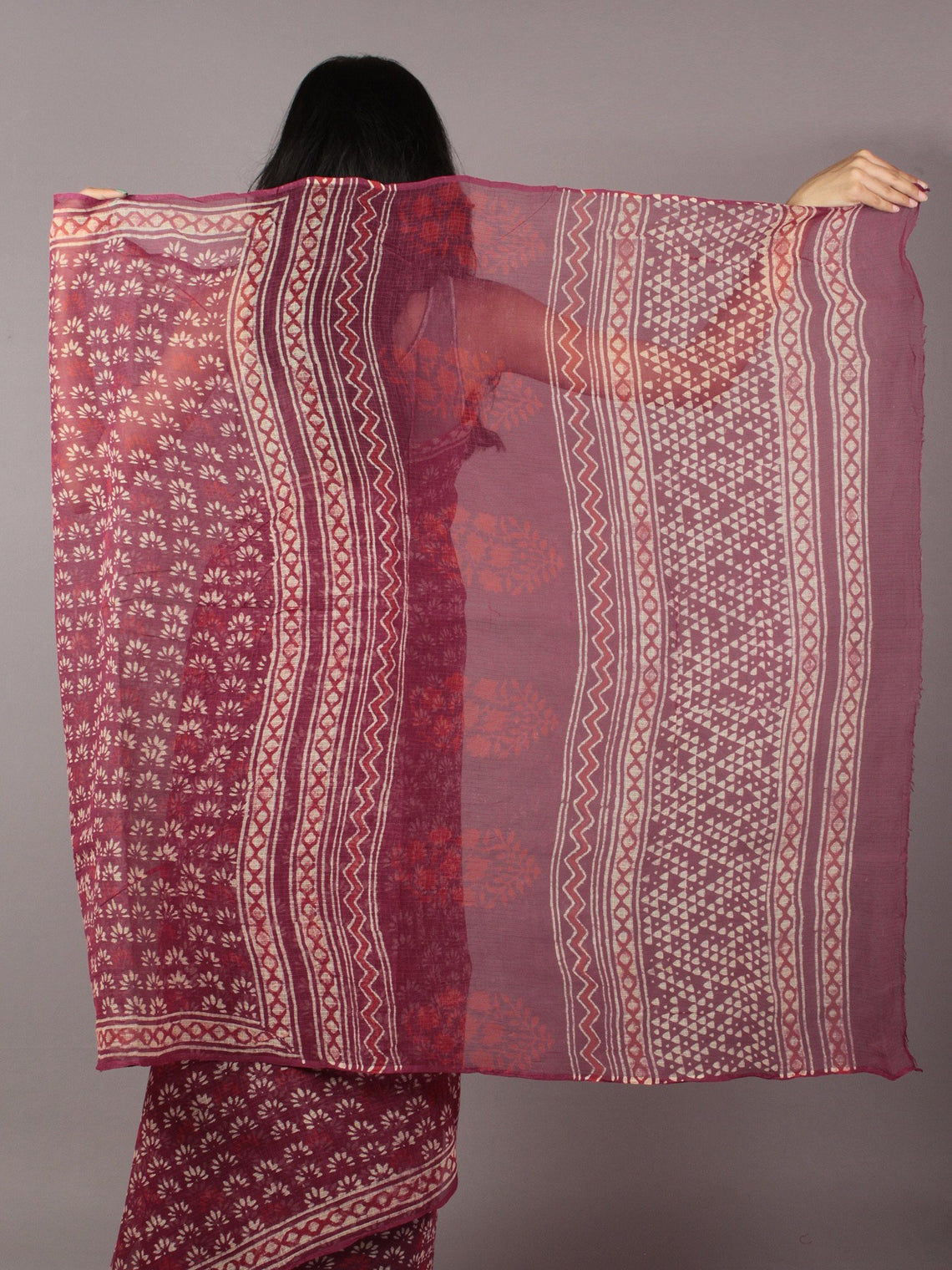 Maroon Ivory Hand Block Printed Kota Doria Saree in Natural Colors - S031701789