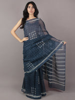 Indigo White Hand Block Printed Kota Doria Saree in Natural Colors - S031701790