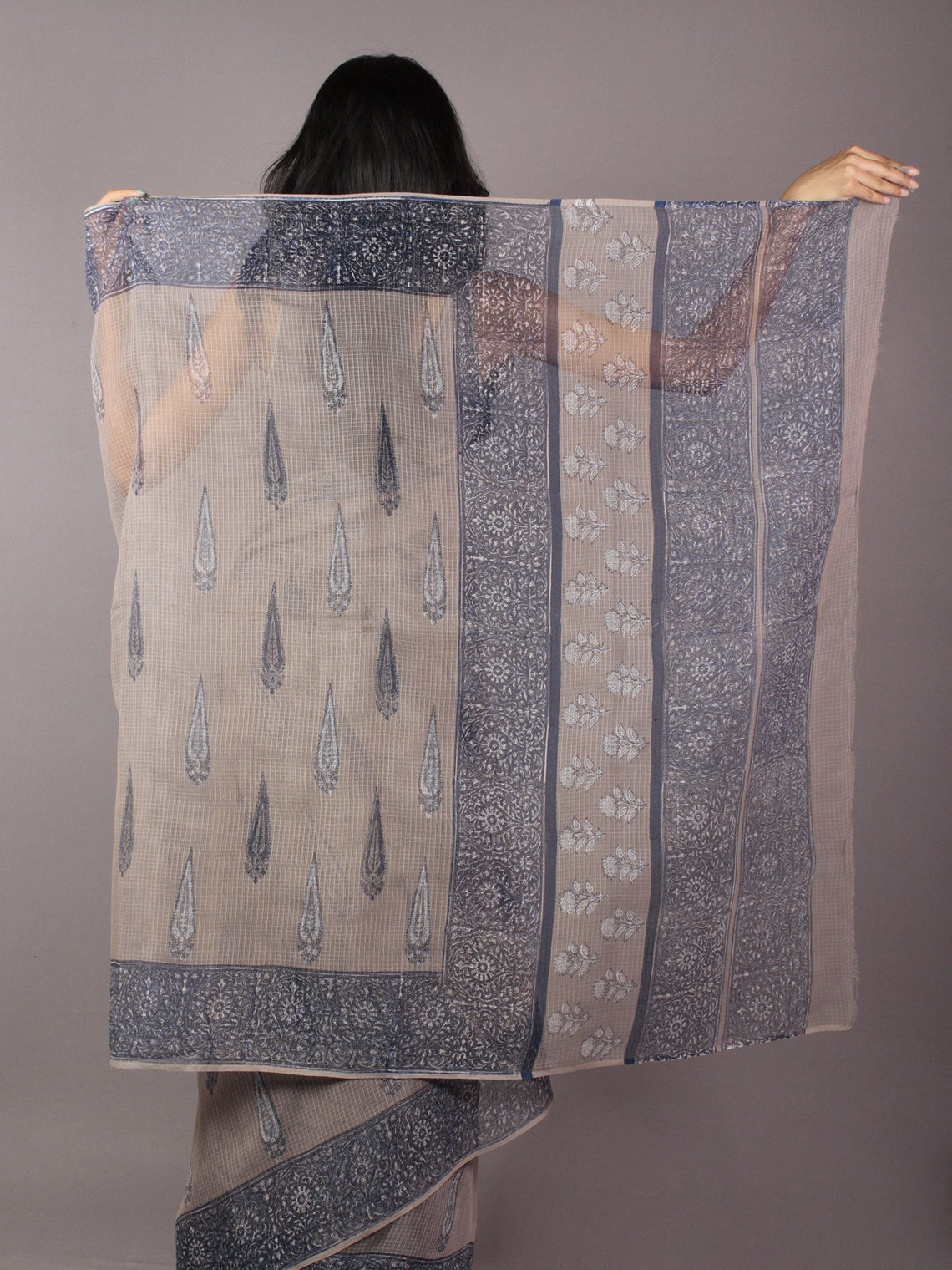 Kashish Ivory Light Blue Hand Block Printed Kota Doria Saree in Natural Colors - S031701791