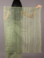 Light Green Ivory Hand Block Printed Kota Doria Saree in Natural Colors - S031701803