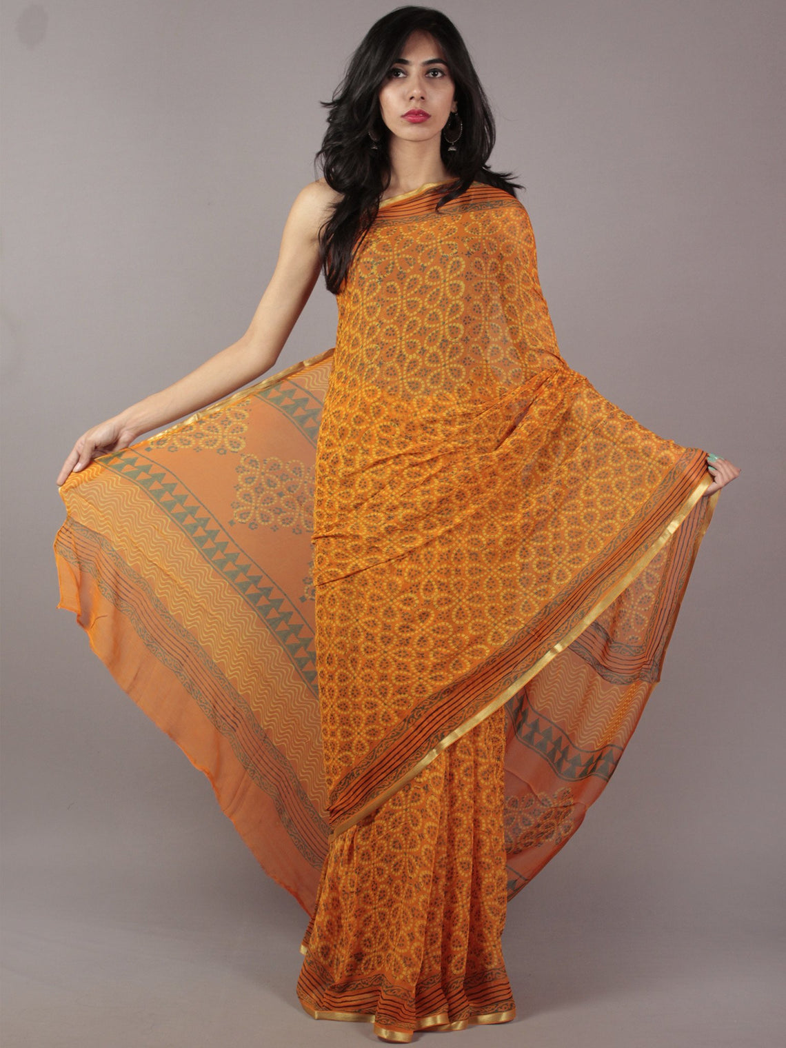 Orange Yellow Green Black Hand Block Printed Chiffon Saree - S031701833