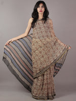 Beige Red Black Blue Hand Block Printed Chiffon Saree - S031701852