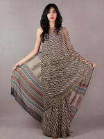 Beige Black Maroon Teal Green Hand Block Printed Chiffon Saree - S031701839