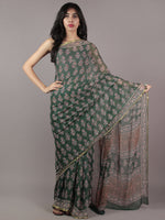Hunter Green Pink Off White Hand Block Printed Chiffon Saree - S031701856