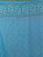Azure grey  Hand Block Printed Chiffon Saree - S031701857