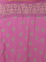 Pink Light Yellow Green Hand Block Printed Chiffon Saree - S031701858