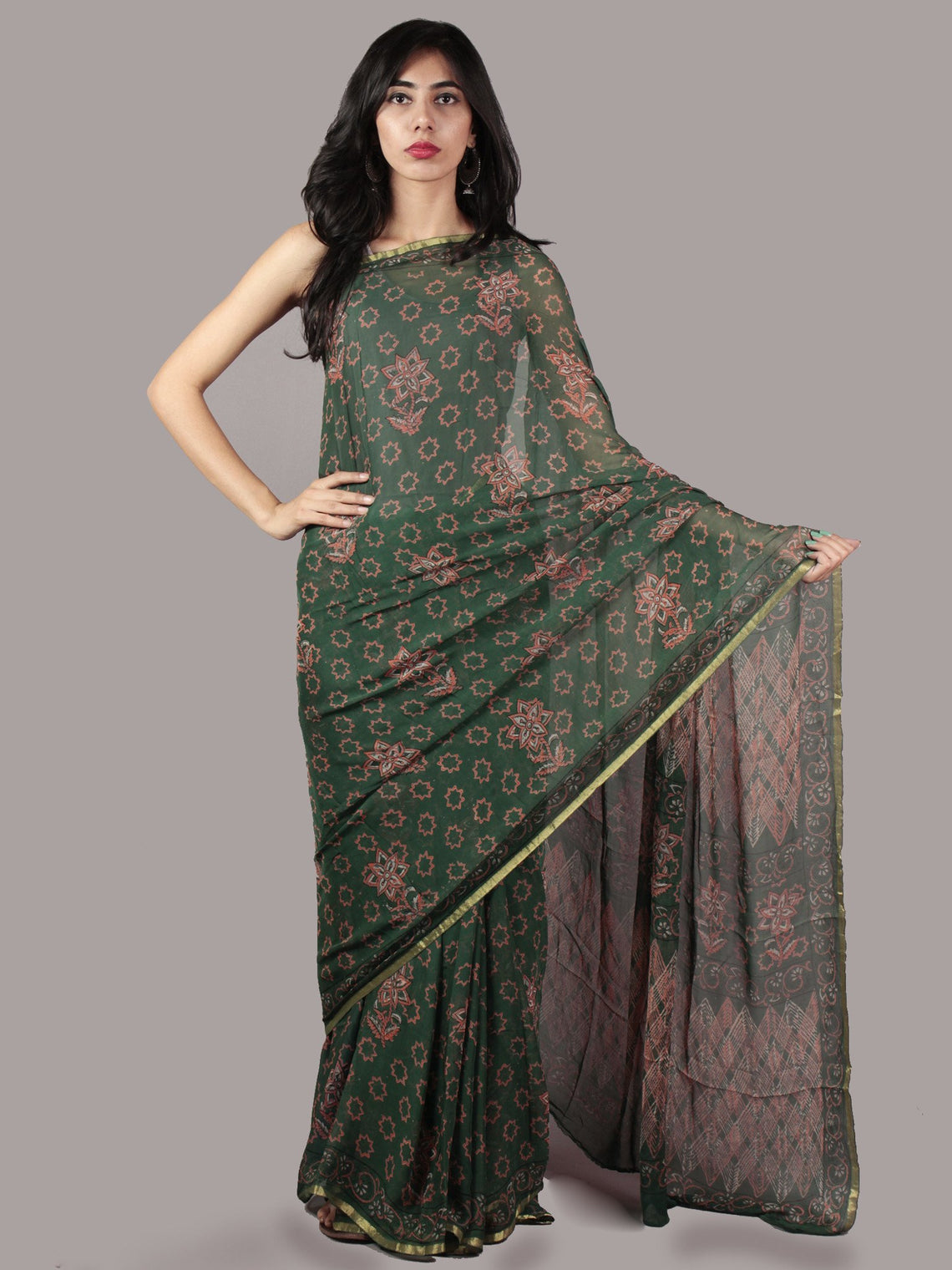 Hunter Green Pink Hand Block Printed Chiffon Saree - S031701864