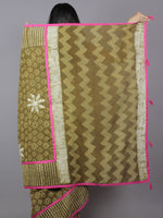Olive Green Ivory Hand Block Printed Cotton Saree With Magenta Border & Tassels - S031701878