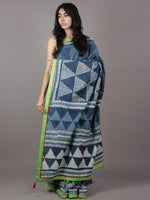 Indigo Ivory Hand Block Printed Cotton Saree With Green Border & Tassels - S031701872