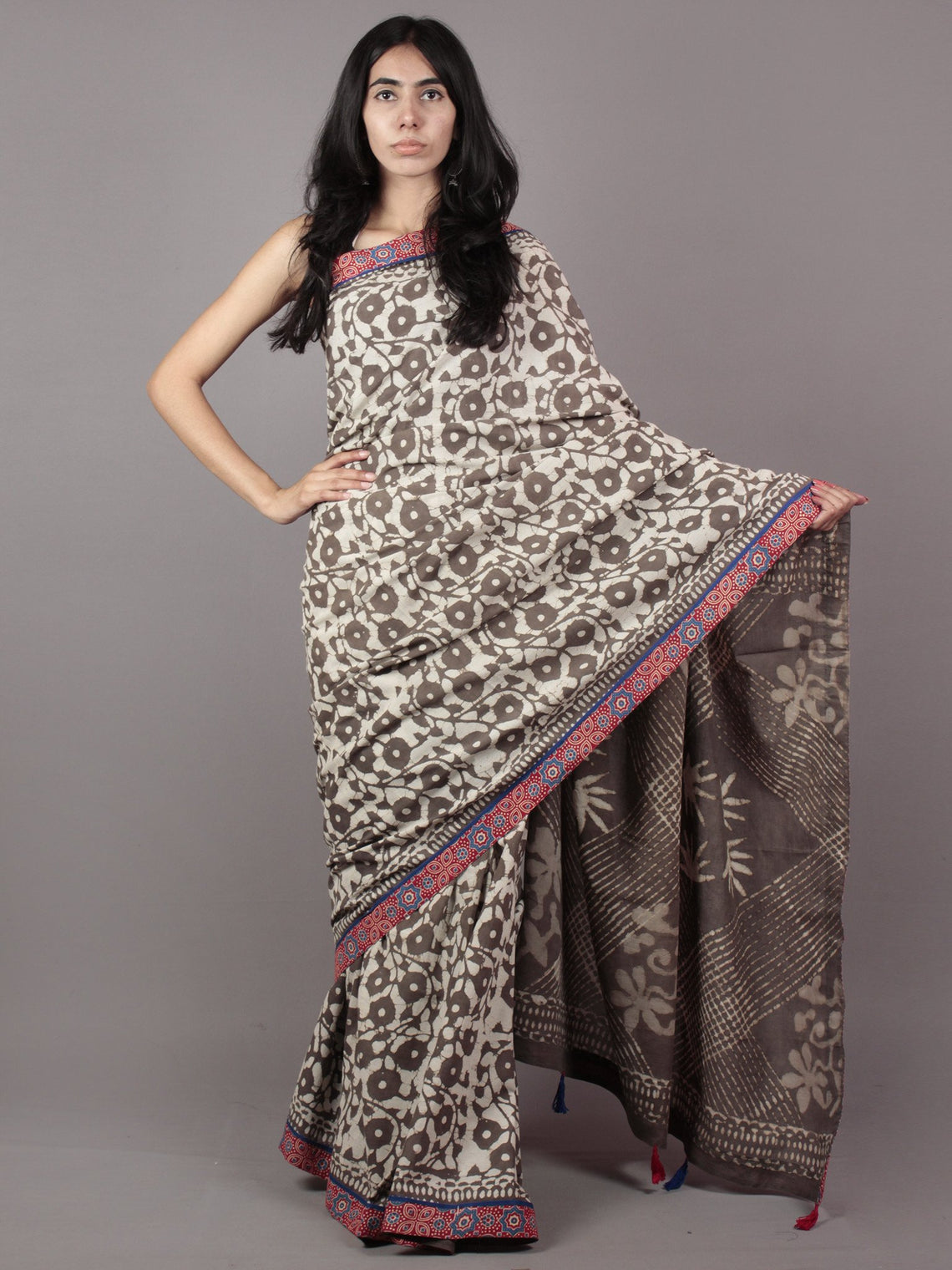 Kashish Ivory Hand Block Printed Cotton Saree With Ajrakh Printed Border & Tassels - S031701876