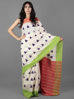 Ivory Purple Green Peach Double Ikat Handwoven Ganga Jamuna Border Pochampally Cotton Saree With G- S031701901