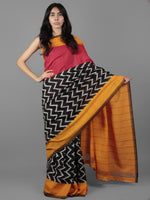 Black Red Ivory Yellow Ikat Handwoven Pochampally Mercerized Cotton Saree - S031701905