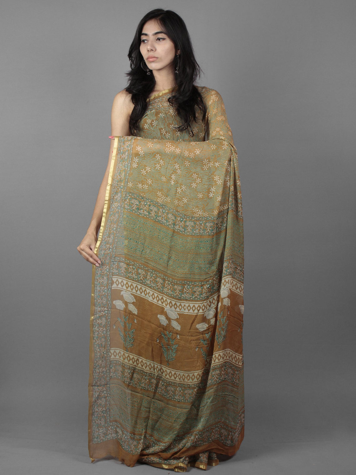 Peanut Brown Teal Green Ivory Hand Block Printed Chiffon Saree - S031701896